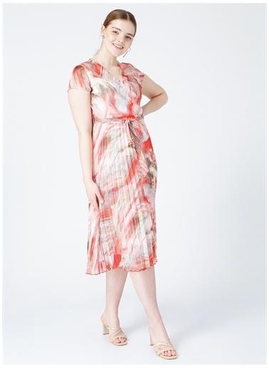 Selen Selen Kırmızı Desenli Elbise Mercan